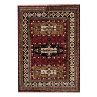 Herat Oriental Indo Hand-knotted Tribal Kazak Red/ Ivory Wool Rug (5'9 x 8')