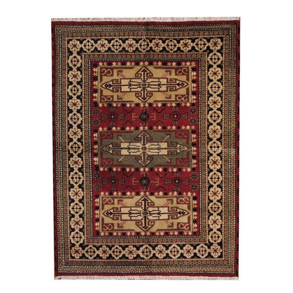 Herat Oriental Indo Hand-knotted Tribal Kazak Wool Rug - 5'8 x 7'9