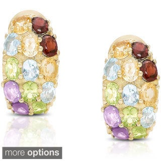 Dolce Giavonna Gold Over Sterling Silver Multi Gemstone Half Hoop Earrings
