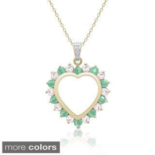 Dolce Giavonna Gold Over Sterling Silver Diamond Accent and Gemstone Heart Necklace