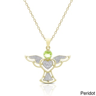 Dolce Giavonna Gold over Silver Gemstone and Diamond Accent Angel Birthstone Necklace (More options available)