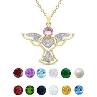 Dolce Giavonna Gold over Silver Diamond Accent and Gemstone Angel Birthstone Necklace