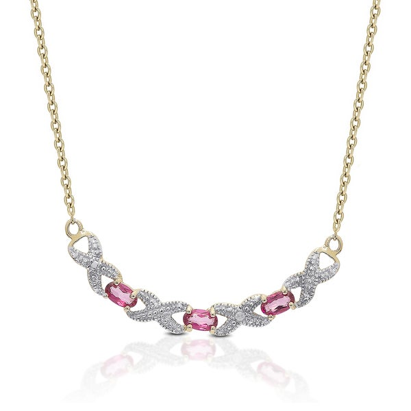 3cc54478a3f8b Shop Dolce Giavonna Gold over Sterling Silver Pink Topaz and Diamond ...