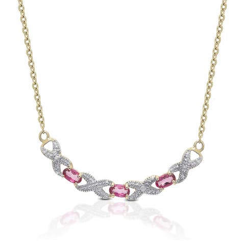 Dolce Giavonna Gold over Sterling Silver Pink Topaz and Diamond Accent 'XO' Necklace