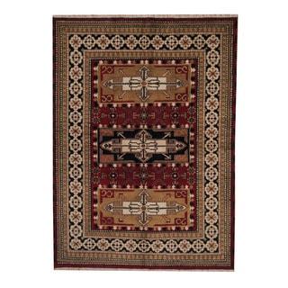 Herat Oriental Indo Hand-knotted Tribal Kazak Red/ Navy Wool Rug (5'8 x 7'10)