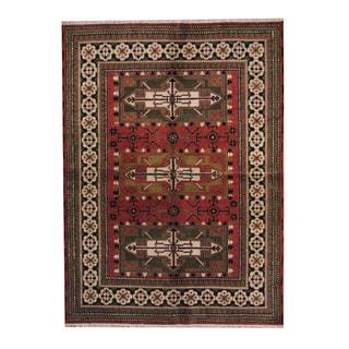 Herat Oriental Indo Hand-knotted Tribal Kazak Red/ Green Wool Rug (5'9 x 8'1)