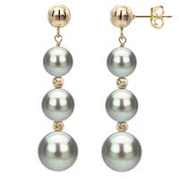DaVonna Grey Freshwater Graduated Pearl and Beads Dangle Earring