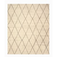 Hand-knotted Wool Ivory Transitional Trellis Trellis Moroccan Rug (9' x 12')