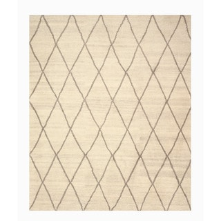 Hand-knotted Wool Ivory Transitional Trellis Trellis Moroccan Rug (10' x 14')