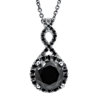 Noori 2 1/6 TDW Black Diamond Infinity Knot Pendant with 14k White Gold Necklace