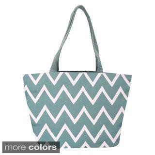 Viola Chevron Jute Shopper Tote Bag