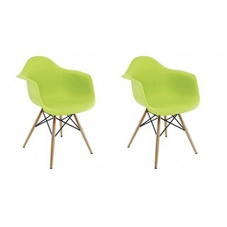 Contemporary Retro Molded Style Lime Green Accent Plastic Dining Armchair (Set of 2)