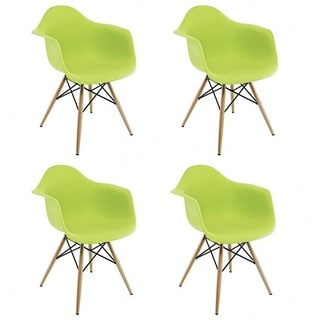 Contemporary Retro Molded Style Lime Green Accent Plastic Dining Armchair (Set of 4)