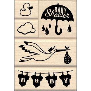 "Inkadinkado Mounted Stamp Set 3.25""X4.75""-Baby Shower"