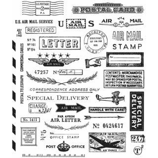 "Tim Holtz Cling Rubber Stamp Set 7""X8.5""-Correspondence"