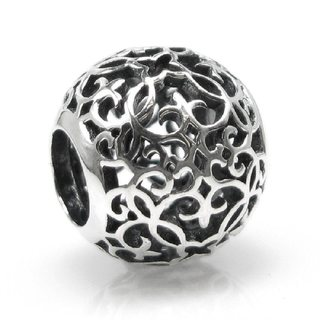 Queenberry Sterling Silver Round Floral Filigree European Bead Charm