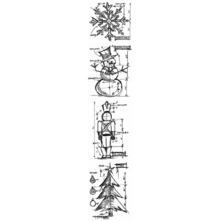 "Tim Holtz Mini Blueprints Strip Cling Rubber Stamps 3""X10""-Christmas"