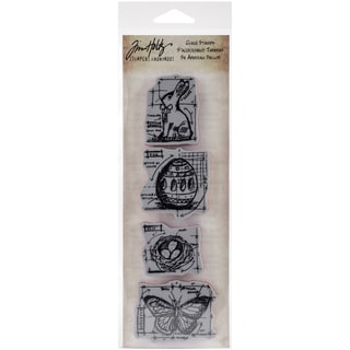 "Tim Holtz Mini Blueprints Strip Cling Rubber Stamps 3""X10""-Easter"