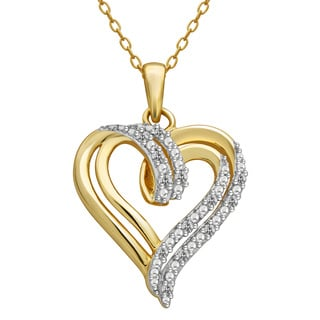 Divina 14K Yellow Gold over Silver Diamond Accent Heart Pendant