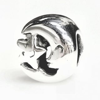Queenberry Sterling Silver Moon and Smiley Star European Bead Charm