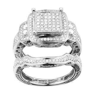 Link to Sterling Silver 1/2ct TDW Diamond Square Halo Bridal Set Similar Items in Men's Jewelry