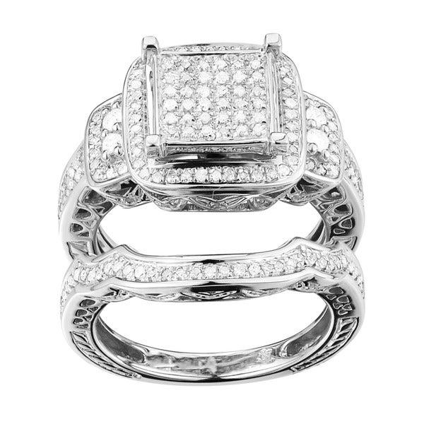 Sterling Silver 1/2ct TDW Diamond Square Halo Bridal Set