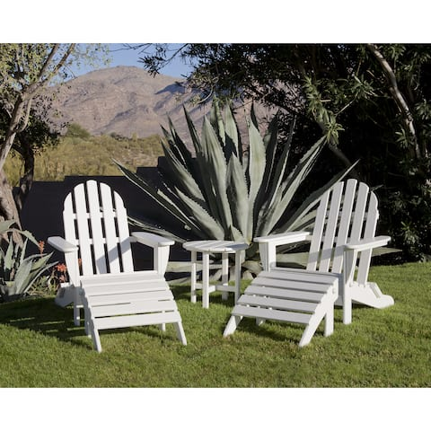 Ivy Terrace Classics 5-piece Folding Adirondack Chair and Ottoman Set