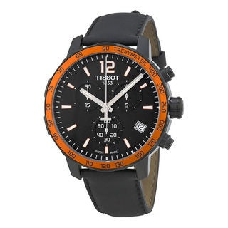 Tissot Men's T0954173605701 'Quickster' Chronograph Black Leather Watch
