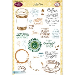 "JustRite Papercraft Clear Stamp Set 6""X8""-Coffee House"