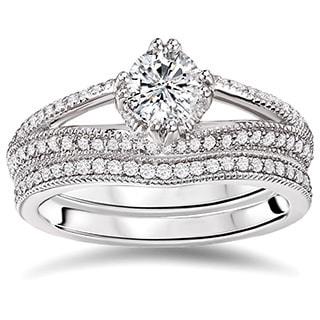 Avanti 14K White Gold 4/5ct TDW Diamond Bridal Ring Set (G-H, SI1-SI2)
