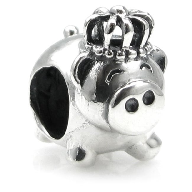 Queenberry Sterling Silver King Pig with Crown European B...