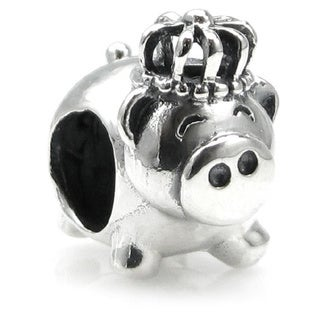 Queenberry Sterling Silver King Pig with Crown European Bead Charm