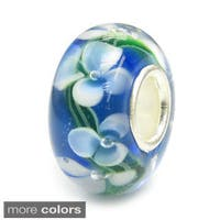 Queenberry Rondelle Murano Floral Glass Lampwork Sterling Silver European Bead Charm