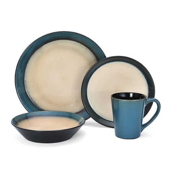 Pfaltzgraff Everyday Aria Teal 16-piece Dinnerware Set  sc 1 st  Overstock.com : dinnerware 16 piece - pezcame.com