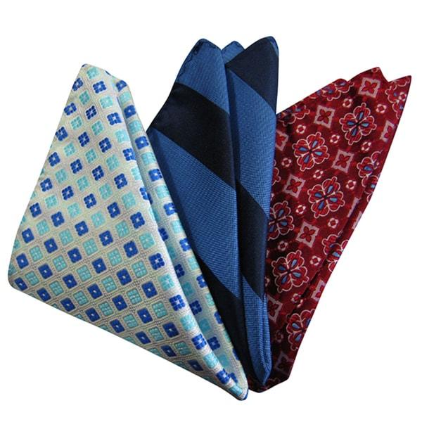 Dmitry Mens Italian Silk Pocket Squares (Pack of 3)