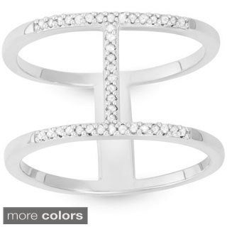 Sterling Silver 1/10ct TDW Diamond Double-band 'H' Ring