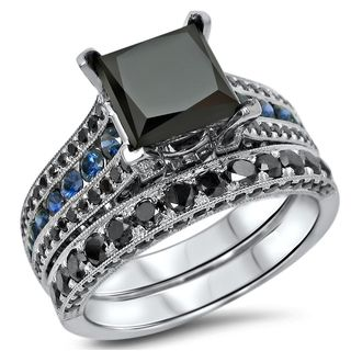 Noori 14k White Gold 3 3/5ct TDW Certified Black Diamond and Blue Sapphire Bridal Ring Set