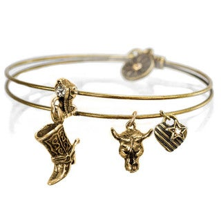 Sweet Romance Country Western Cowboy Texas Boot Bangle Bracelet