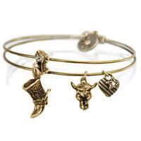 Sweet Romance Country Western Cowboy Texas Boot Bangle Bracelet