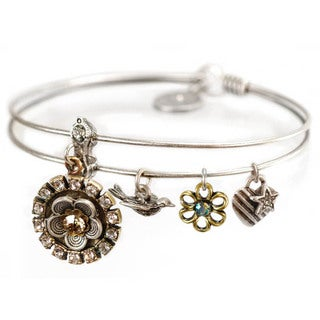 Sweet Romance Flower Charm Bangle Bracelet