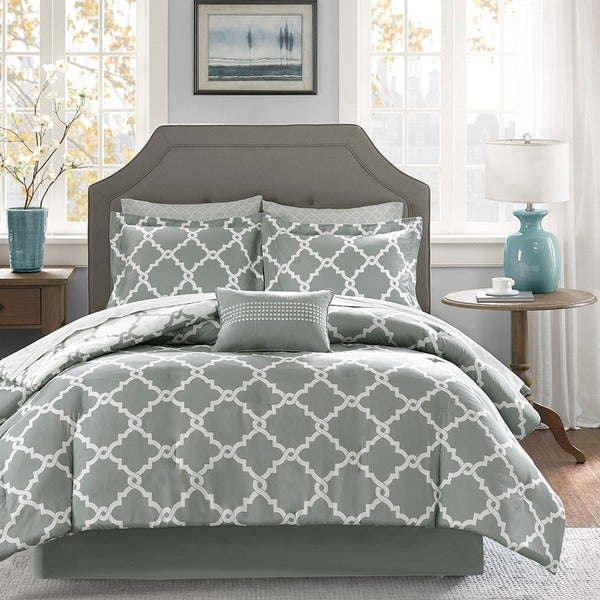 Madison Park Essentials Almaden Grey Trellis Pattern Reversible Complete Comforter and Cotton Sheet Set