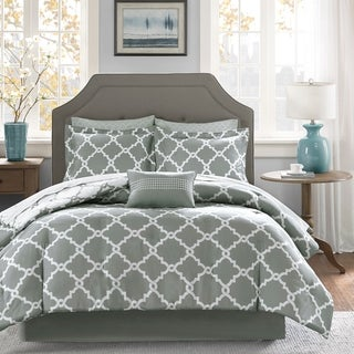 Clay Alder Home Denver Grey Trellis Pattern Reversible Complete Comforter and Cotton Sheet