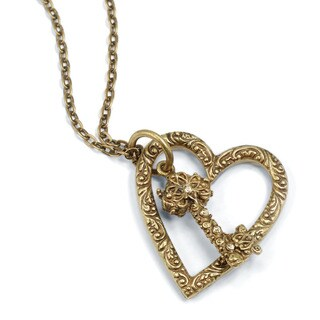 Sweet Romance Vintage Heart and Key Charm Long Necklace