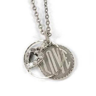 Sweet Romance Retro Love Charm Silver Necklace