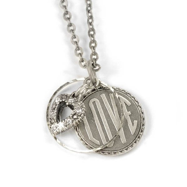 Sweet Romance Retro Love Charm Silver Necklace