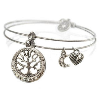 Sweet Romance Tree of Life Charm Bangle Bracelet