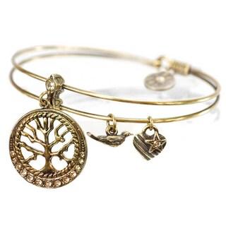 Sweet Romance Tree of Life Charm Bangle Bracelet (Option: Brown - Brown)