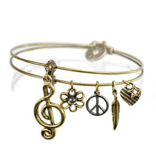 Sweet Romance Music Instruments Jazz Charms Bangle Bracelet
