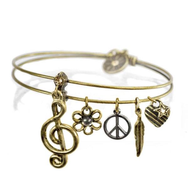Sweet Romance Music Instruments Jazz Charms Bangle Bracelet