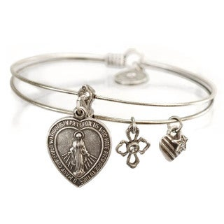 Sweet Romance Lord's Prayer Miraculous Medal Virgin Mary Bangle Bracelet